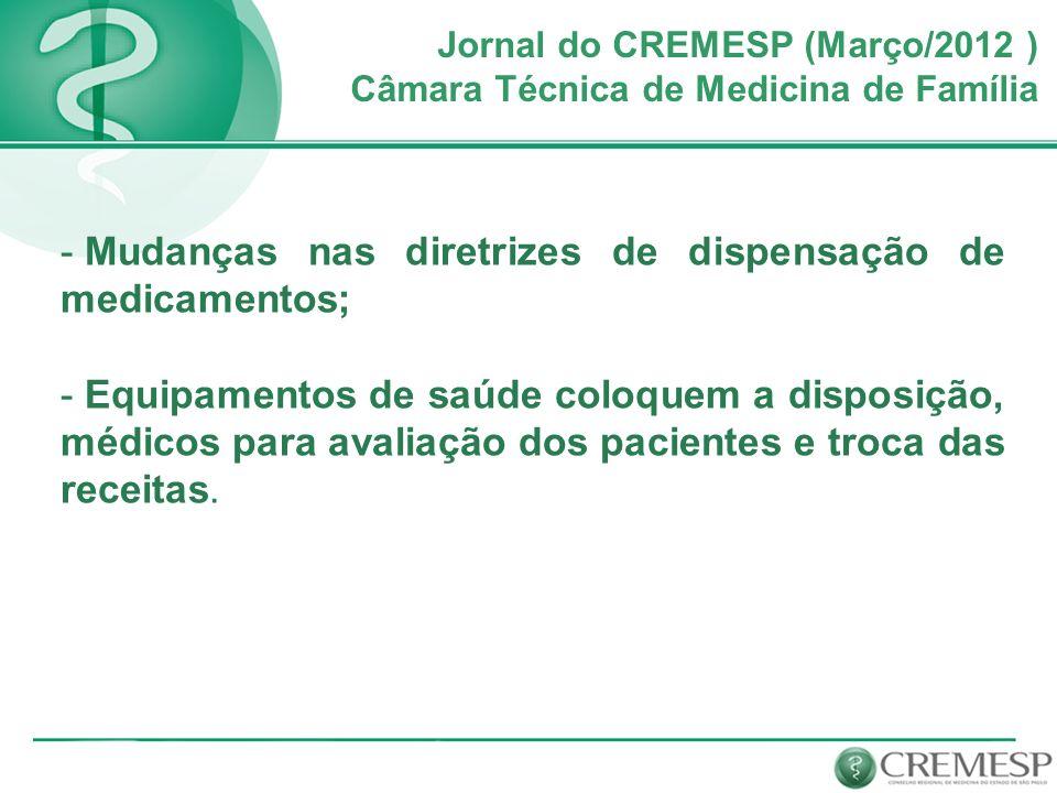 Jornal do CREMESP (Março/2012 ) Câmara Técnica de Medicina de Família - Mudanças nas diretrizes de dispensação de medicamentos; - Equipamentos de saúd