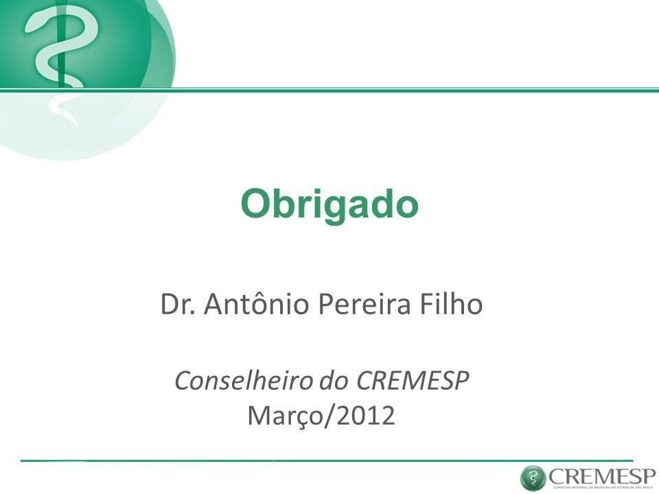 Dr. Antônio Pereira Filho Conselheiro do CREMESP Março/2012 Obrigado