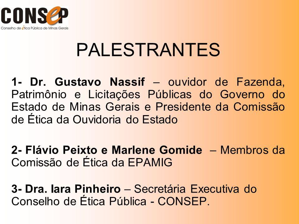 PALESTRANTES 1- Dr. Gustavo Nassif – ouvidor de Fazenda, Patrimônio e Licitações Públicas do Governo do Estado de Minas Gerais e Presidente da Comissã