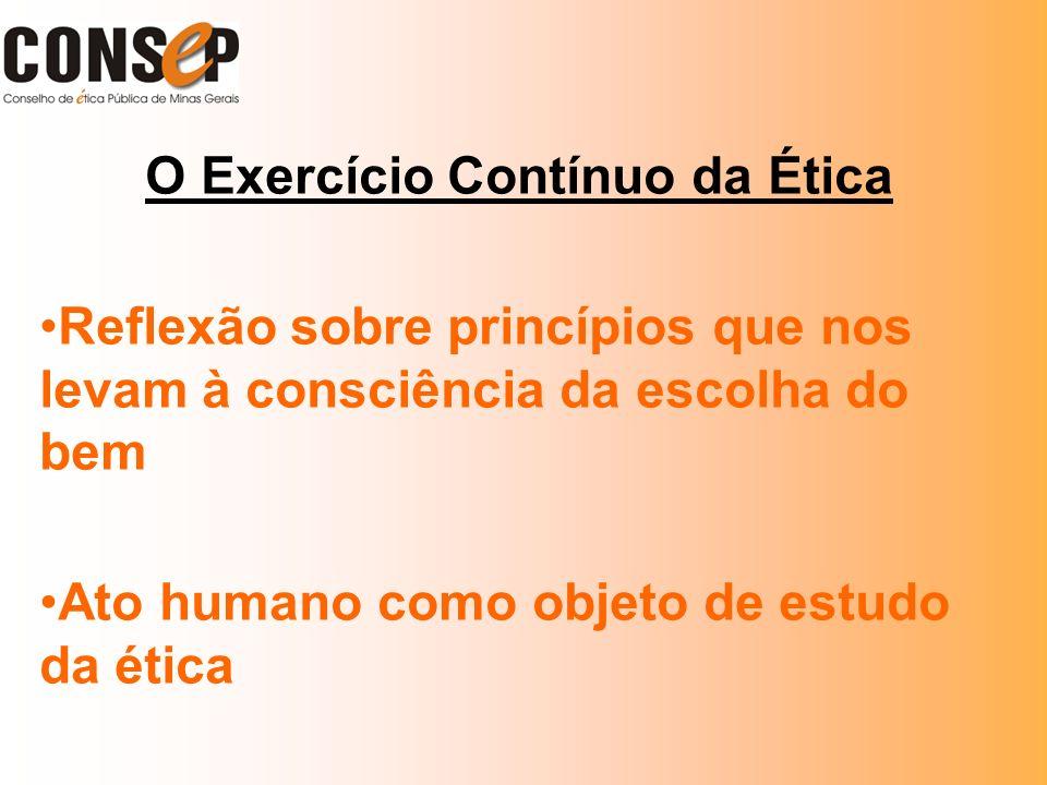 O Exercício Contínuo da Ética Reflexão sobre princípios que nos levam à consciência da escolha do bem Ato humano como objeto de estudo da ética