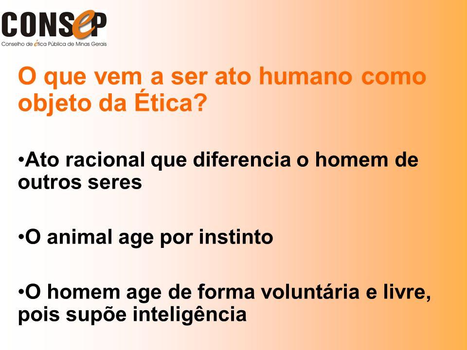 O que vem a ser ato humano como objeto da Ética? Ato racional que diferencia o homem de outros seres O animal age por instinto O homem age de forma vo