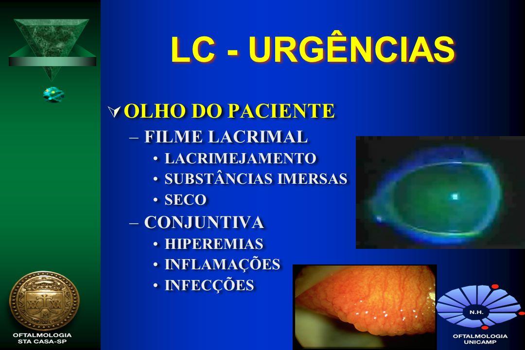 LC - URGÊNCIAS OLHO DO PACIENTE –FILME LACRIMAL LACRIMEJAMENTO SUBSTÂNCIAS IMERSAS SECO –CONJUNTIVA HIPEREMIAS INFLAMAÇÕES INFECÇÕES OLHO DO PACIENTE