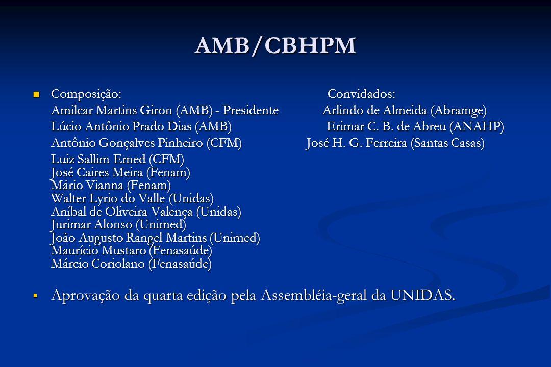 AMB/CBHPM Composição: Convidados: Composição: Convidados: Amilcar Martins Giron (AMB) - Presidente Arlindo de Almeida (Abramge) Lúcio Antônio Prado Di
