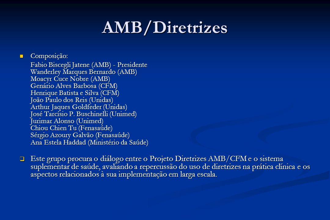 AMB/Diretrizes Composição: Composição: Fabio Biscegli Jatene (AMB) - Presidente Wanderley Marques Bernardo (AMB) Moacyr Cuce Nobre (AMB) Genário Alves