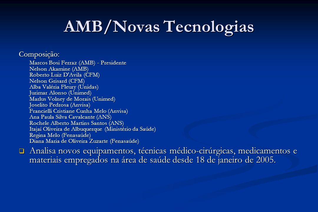 AMB/Novas Tecnologias Composição: Marcos Bosi Ferraz (AMB) - Presidente Nelson Akamine (AMB) Roberto Luiz D'Avila (CFM) Nelson Grisard (CFM) Alba Valé