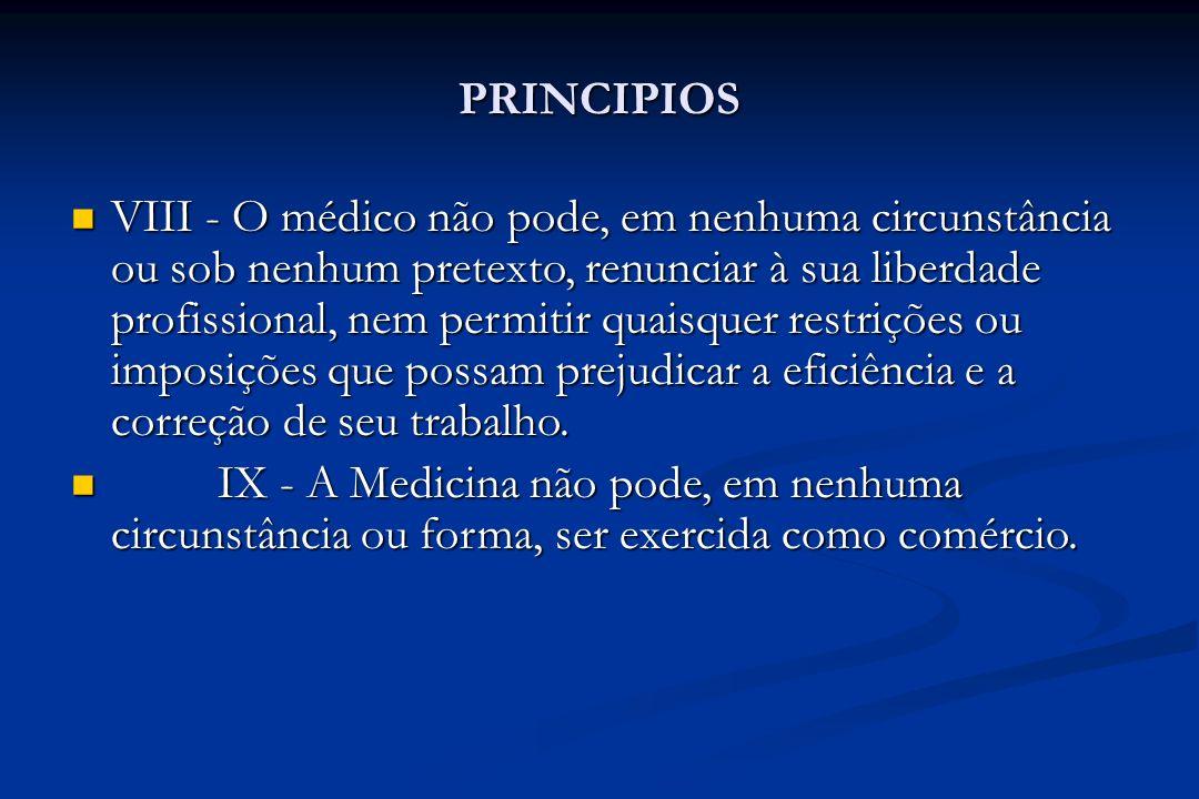 PRINCIPIOS VIII - O médico não pode, em nenhuma circunstância ou sob nenhum pretexto, renunciar à sua liberdade profissional, nem permitir quaisquer r