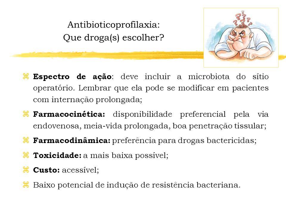 zA antibioticoprofilaxia cirúrgica está indicada nas situações em que ela efetivamente reduz a incidência de infecções. zPrincipais indicações: Cirurg