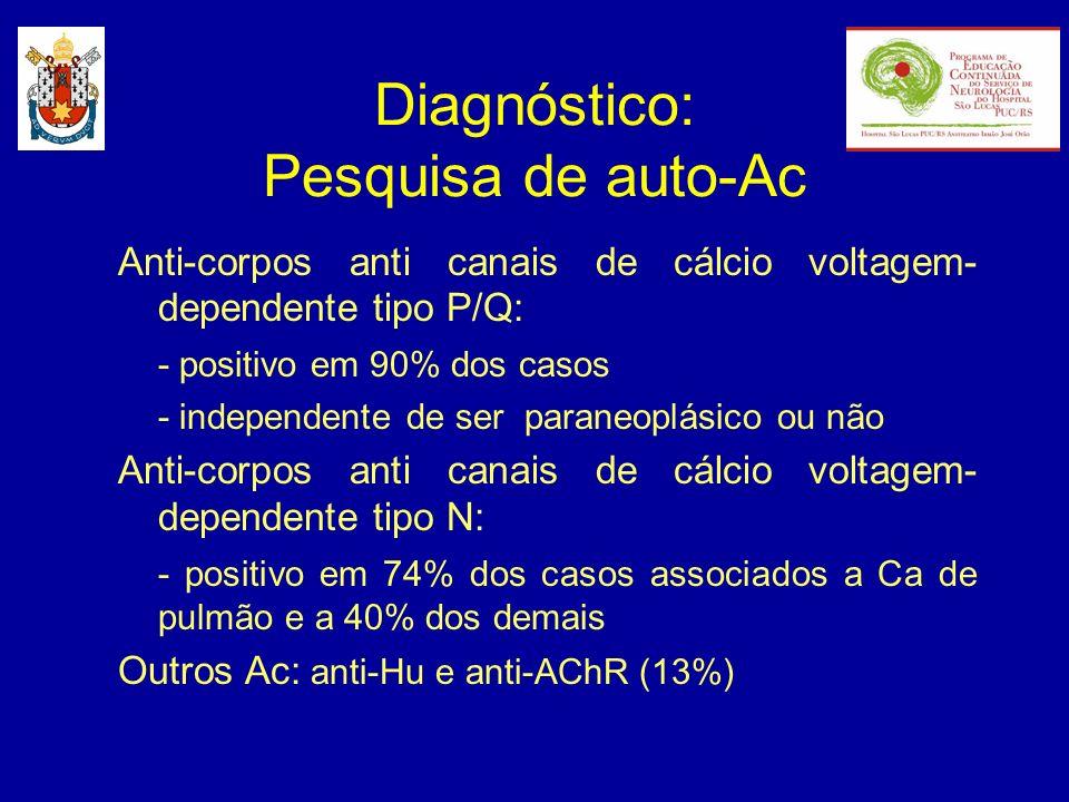 Diagnóstico: Eletroneuromiografia - neurocondução sensitiva: normal; - neurocondução motora: redução marcada da amplitude dos potenciais; - estimulação repetitiva: 2-3 Hz: decremento significativo facilitação pós-exercício (10-15s): 100% exaustão pós-exercício (1 min.): 10% 20-50 Hz: incremento > 100%