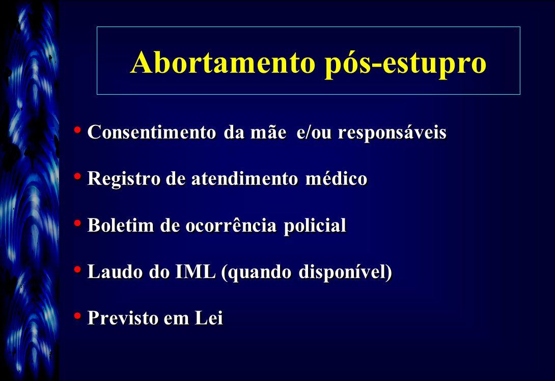 Abortamento pós-estupro Consentimento da mãe e/ou responsáveis Registro de atendimento médico Boletim de ocorrência policial Laudo do IML (quando disp