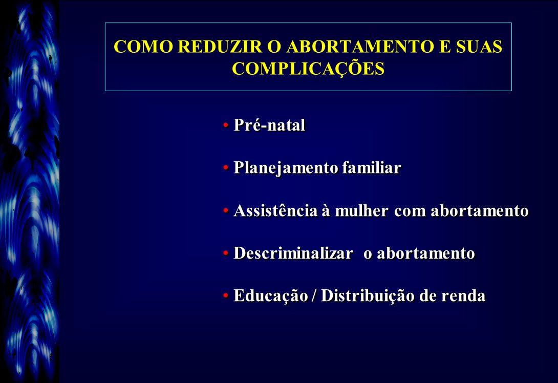 COMO REDUZIR O ABORTAMENTO E SUAS COMPLICAÇÕES Pré-natal Planejamento familiar Assistência à mulher com abortamento Descriminalizar o abortamento Educ