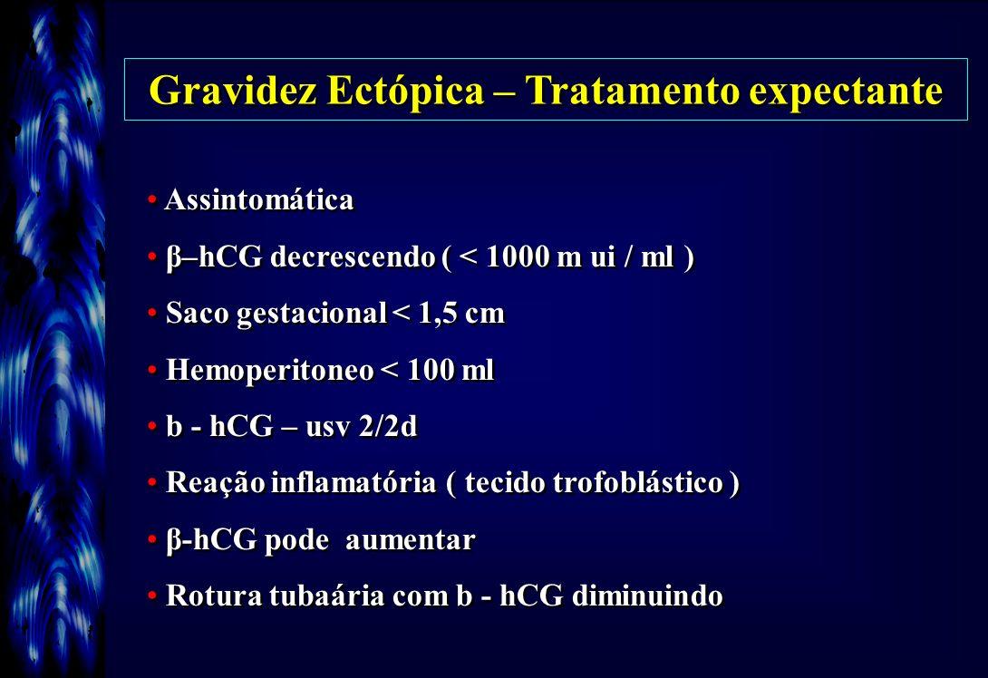 Gravidez Ectópica – Tratamento expectante Assintomática β–hCG decrescendo ( < 1000 m ui / ml ) Saco gestacional < 1,5 cm Hemoperitoneo < 100 ml b - hC