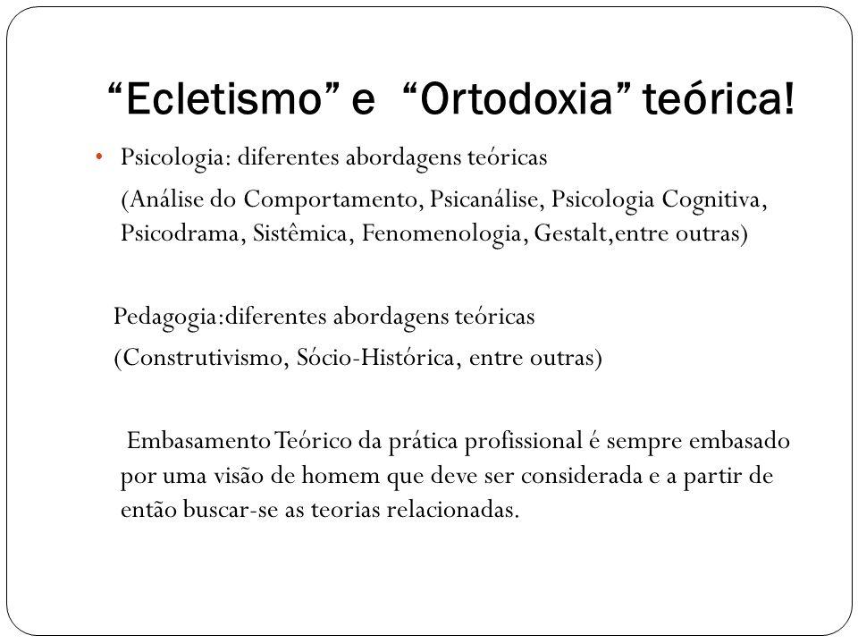 Ecletismo e Ortodoxia teórica! Psicologia: diferentes abordagens teóricas (Análise do Comportamento, Psicanálise, Psicologia Cognitiva, Psicodrama, Si