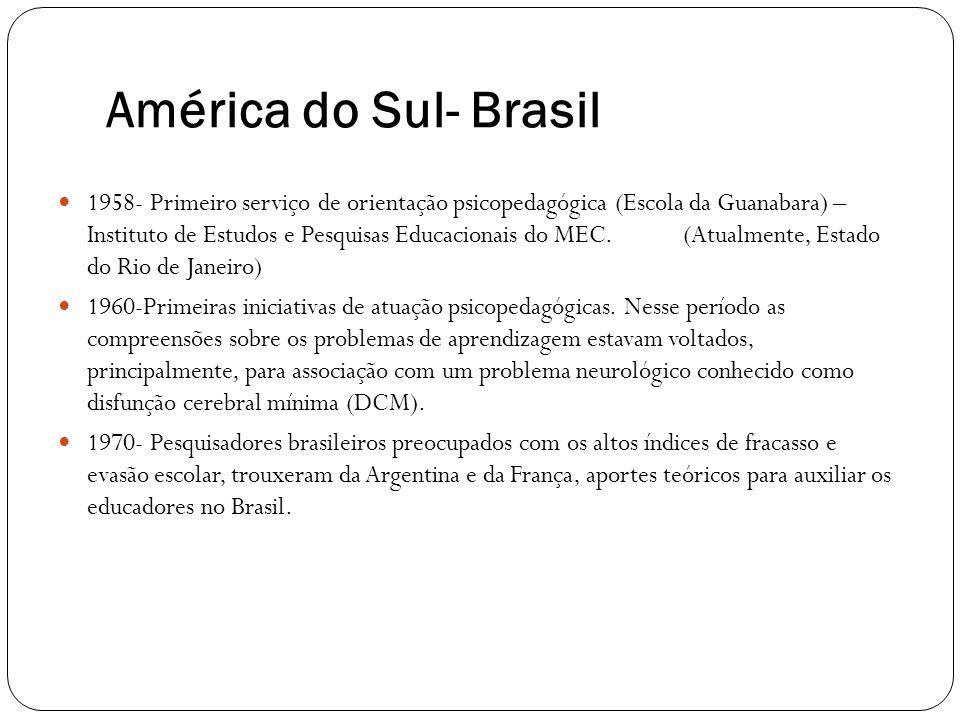 América do Sul- Brasil 1958- Primeiro serviço de orientação psicopedagógica (Escola da Guanabara) – Instituto de Estudos e Pesquisas Educacionais do M