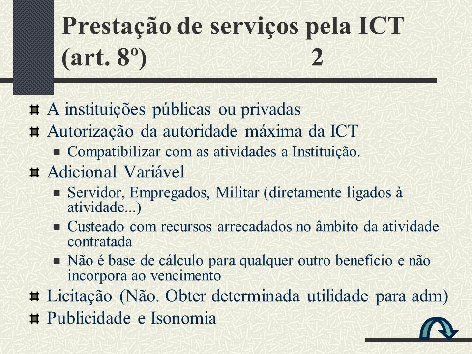 Prestação de serviços pela ICT (art. 8º) 2 A instituições públicas ou privadas Autorização da autoridade máxima da ICT Compatibilizar com as atividade