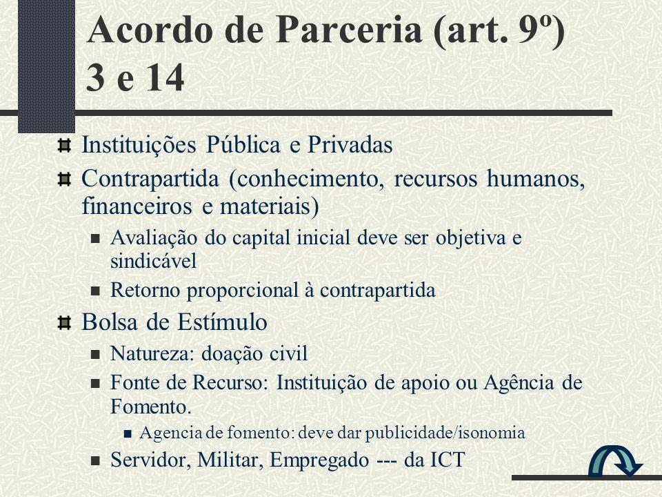 Acordo de Parceria (art. 9º) 3 e 14 Instituições Pública e Privadas Contrapartida (conhecimento, recursos humanos, financeiros e materiais) Avaliação