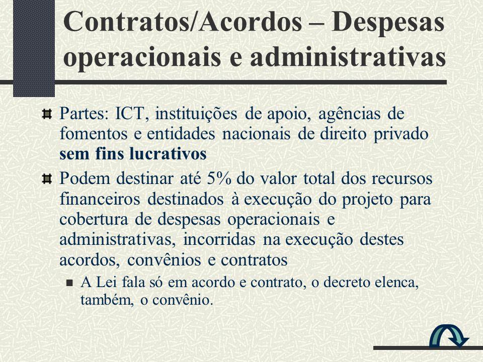 Contratos/Acordos – Despesas operacionais e administrativas Partes: ICT, instituições de apoio, agências de fomentos e entidades nacionais de direito