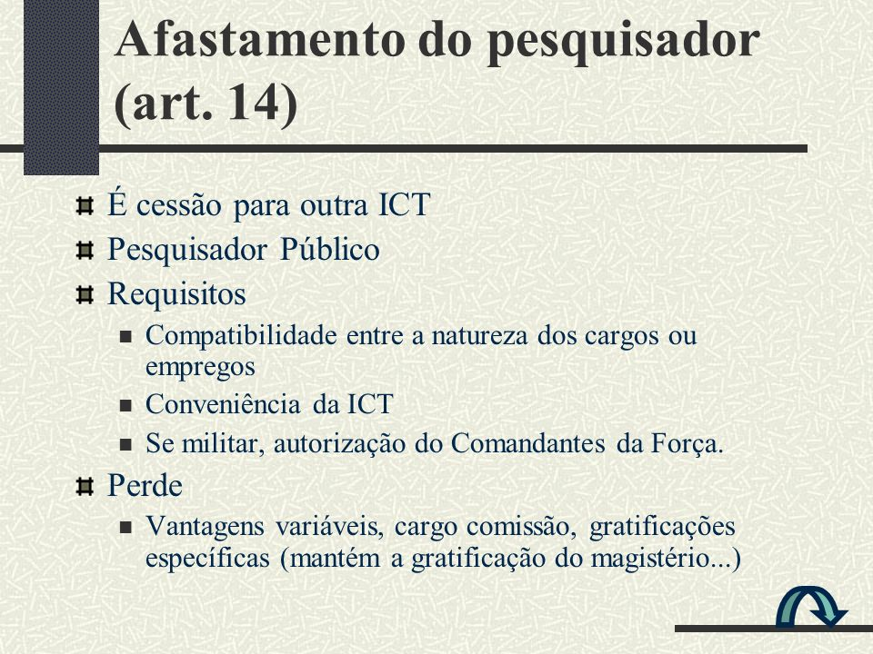Afastamento do pesquisador (art. 14) É cessão para outra ICT Pesquisador Público Requisitos Compatibilidade entre a natureza dos cargos ou empregos Co