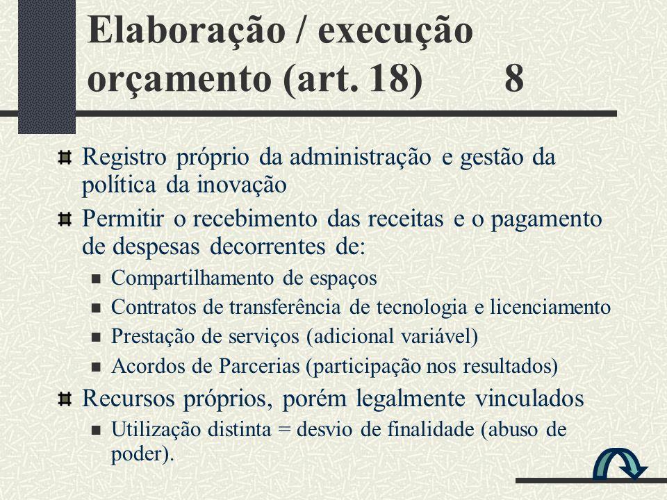 Elaboração / execução orçamento (art. 18) 8 Registro próprio da administração e gestão da política da inovação Permitir o recebimento das receitas e o