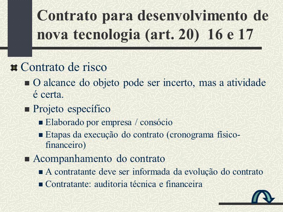 Contrato para desenvolvimento de nova tecnologia (art. 20) 16 e 17 Contrato de risco O alcance do objeto pode ser incerto, mas a atividade é certa. Pr