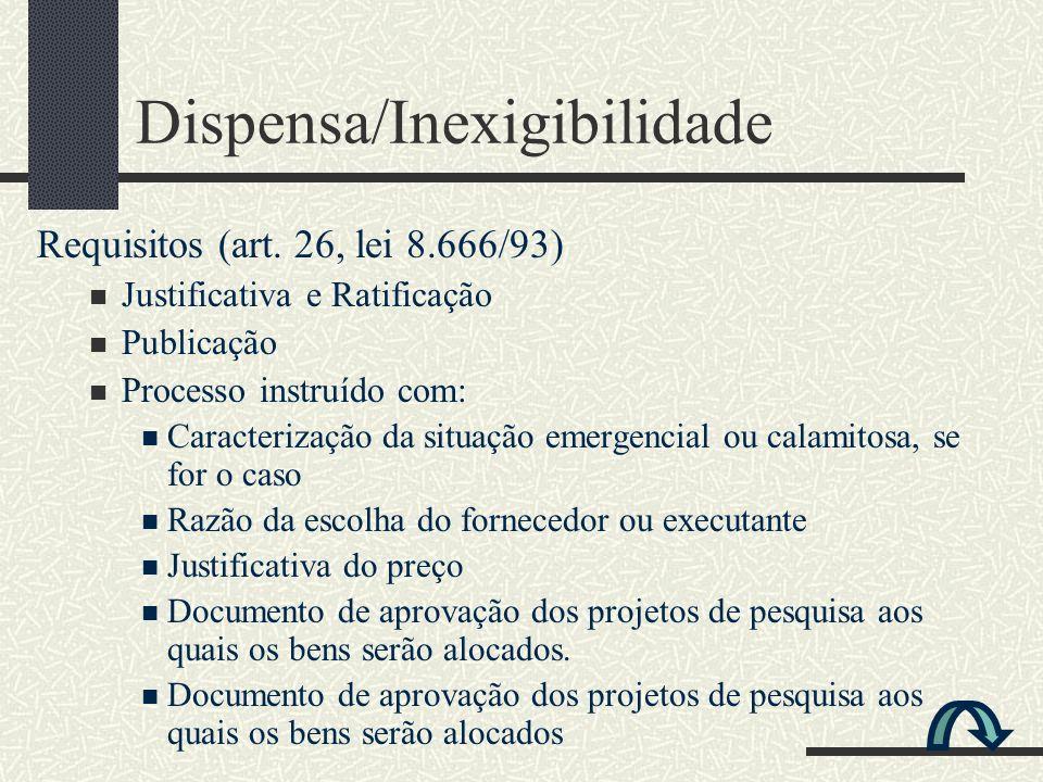 Dispensa/Inexigibilidade Requisitos (art. 26, lei 8.666/93) Justificativa e Ratificação Publicação Processo instruído com: Caracterização da situação