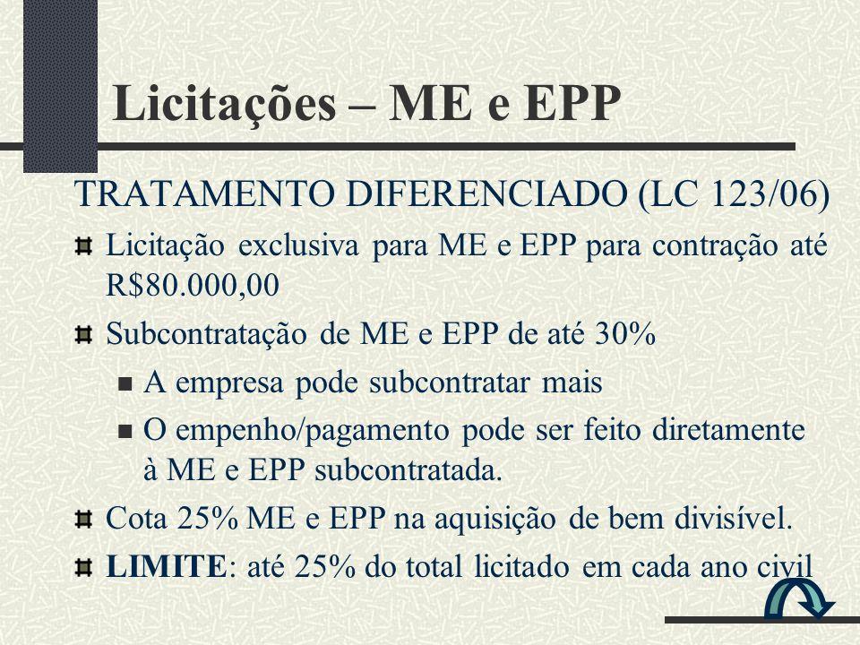TRATAMENTO DIFERENCIADO (LC 123/06) Licitação exclusiva para ME e EPP para contração até R$80.000,00 Subcontratação de ME e EPP de até 30% A empresa p