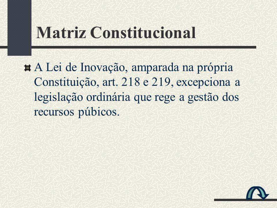 A Lei de Inovação, amparada na própria Constituição, art. 218 e 219, excepciona a legislação ordinária que rege a gestão dos recursos púbicos. Matriz
