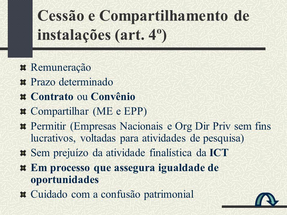Cessão e Compartilhamento de instalações (art. 4º) Remuneração Prazo determinado Contrato ou Convênio Compartilhar (ME e EPP) Permitir (Empresas Nacio