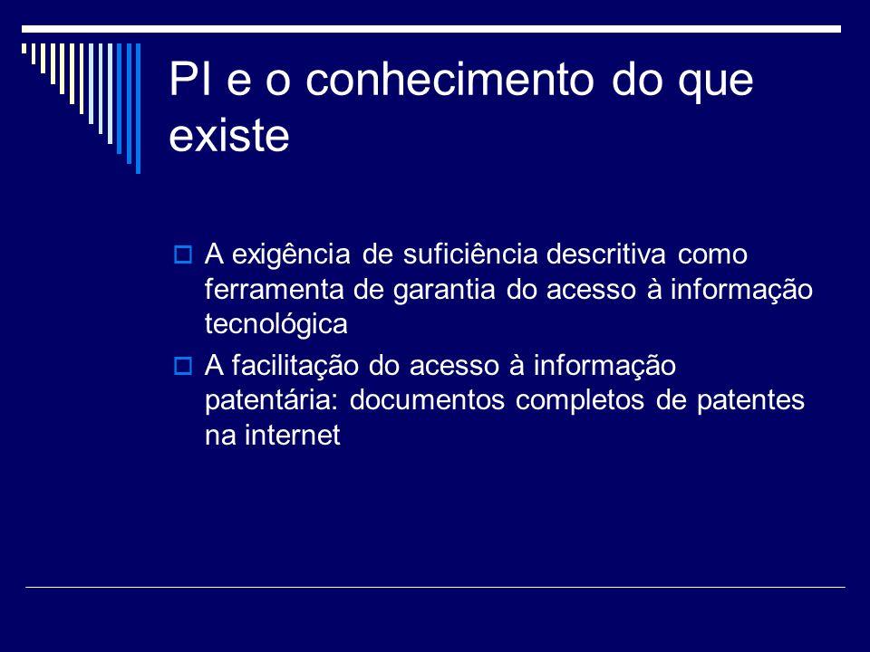 PI e o conhecimento do que existe A exigência de suficiência descritiva como ferramenta de garantia do acesso à informação tecnológica A facilitação d