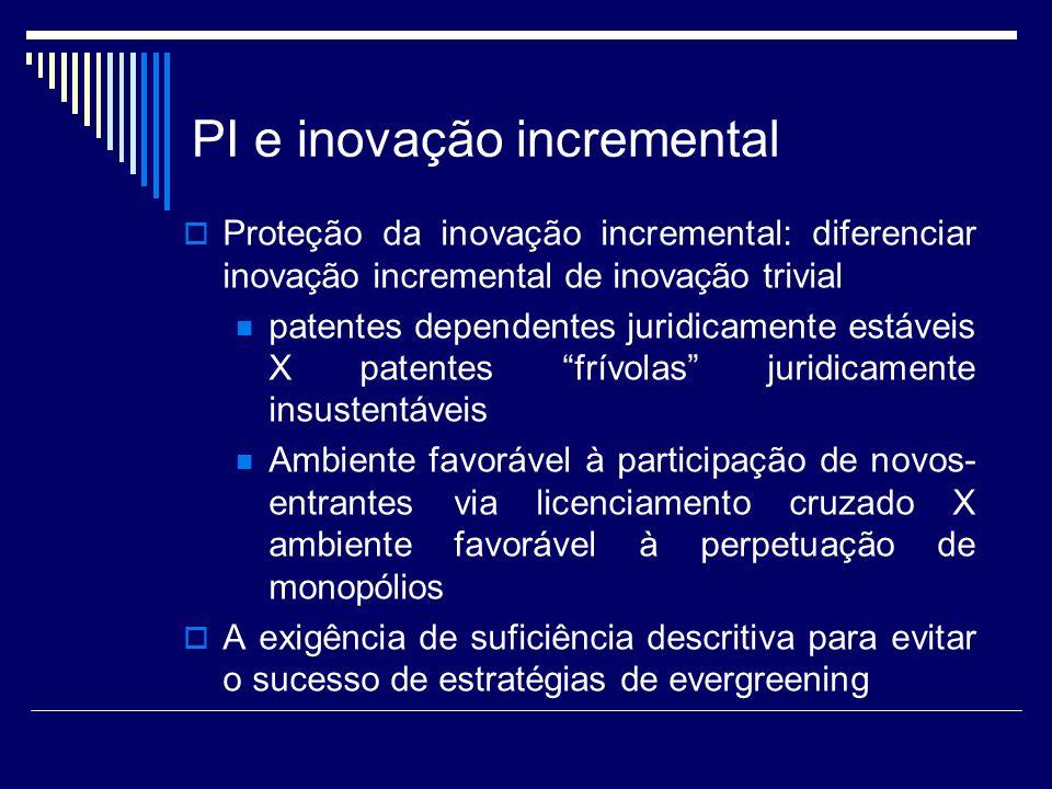 PI e inovação incremental Proteção da inovação incremental: diferenciar inovação incremental de inovação trivial patentes dependentes juridicamente es