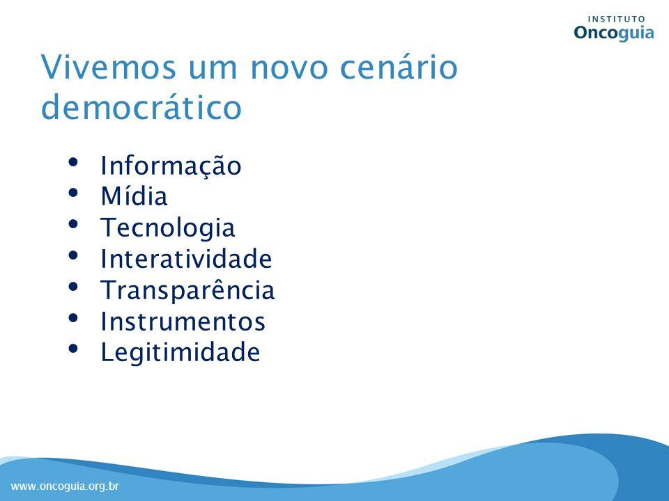 www.oncoguia.org.br Vivemos um novo cenário democrático Informação Mídia Tecnologia Interatividade Transparência Instrumentos Legitimidade