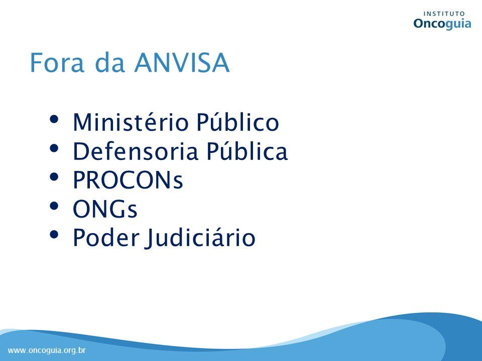 www.oncoguia.org.br SUS CITEC (74% medicamentos) Tempo de análise: indefinido – priorização Participação do cidadão: não há atualmente PL 7445/10 ANS Revisão do Rol de Procedimentos Obrigatórios CAMSS Registro X Incorporação