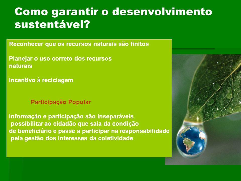 Como garantir o desenvolvimento sustentável? Reconhecer que os recursos naturais são finitos Planejar o uso correto dos recursos naturais Incentivo à
