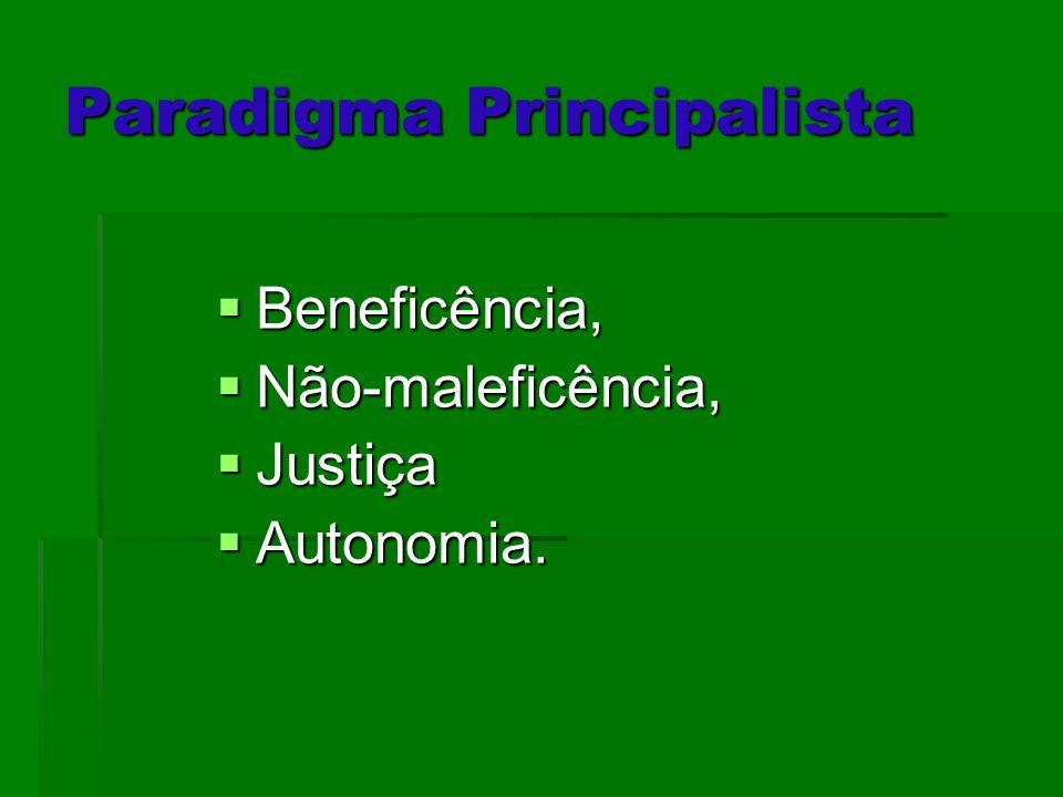 Paradigma Principalista Beneficência, Beneficência, Não-maleficência, Não-maleficência, Justiça Justiça Autonomia. Autonomia.