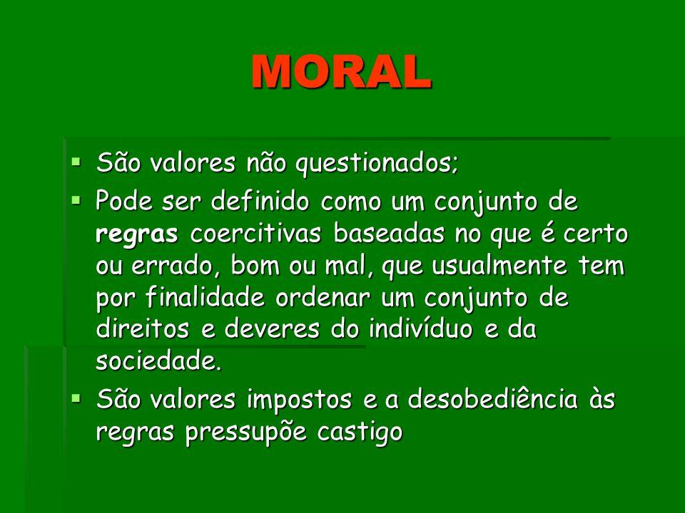 MORAL MORAL São valores não questionados; São valores não questionados; Pode ser definido como um conjunto de regras coercitivas baseadas no que é cer
