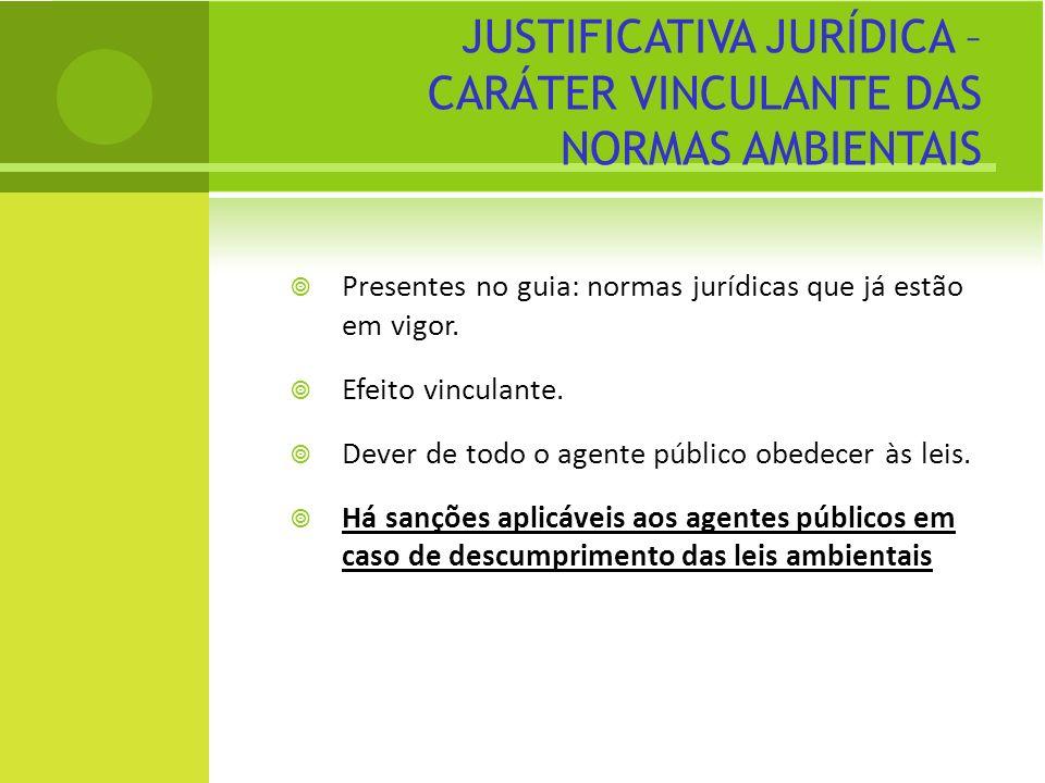 JUSTIFICATIVA JURÍDICA – CARÁTER VINCULANTE DAS NORMAS AMBIENTAIS Presentes no guia: normas jurídicas que já estão em vigor. Efeito vinculante. Dever