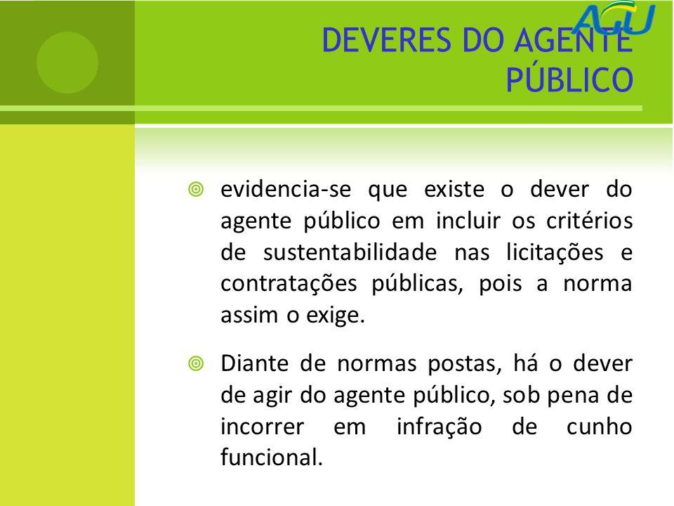 DEVERES DO AGENTE PÚBLICO evidencia-se que existe o dever do agente público em incluir os critérios de sustentabilidade nas licitações e contratações