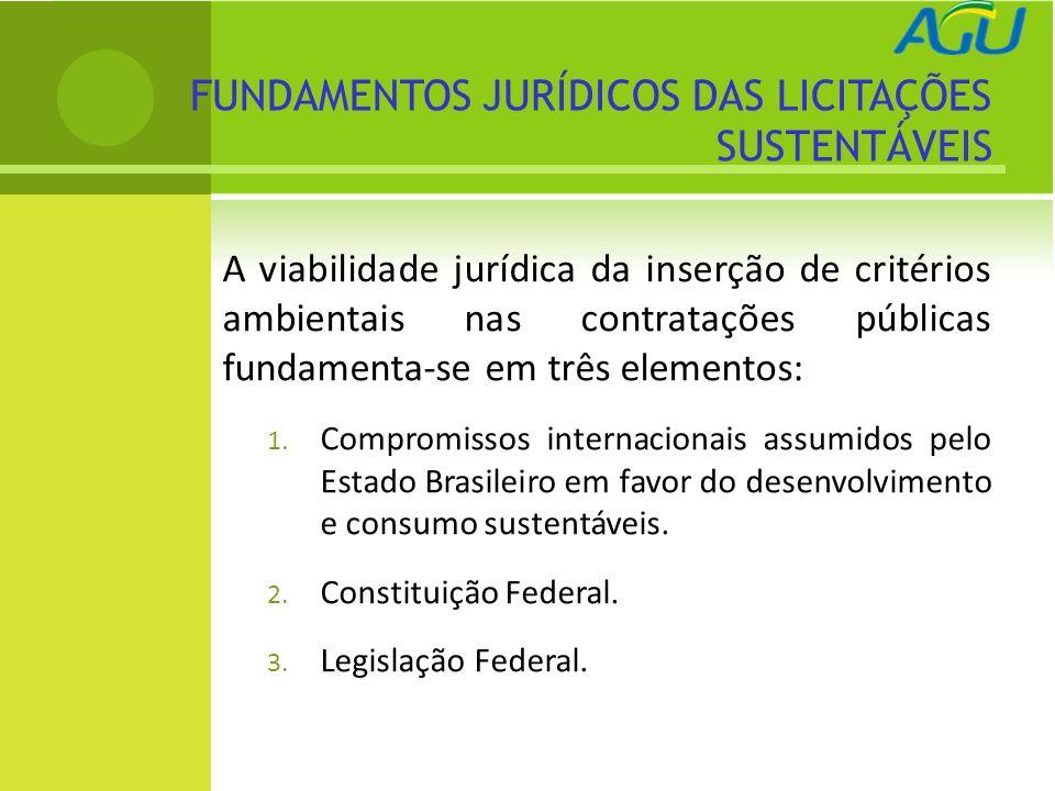 FUNDAMENTOS JURÍDICOS DAS LICITAÇÕES SUSTENTÁVEIS A viabilidade jurídica da inserção de critérios ambientais nas contratações públicas fundamenta-se e