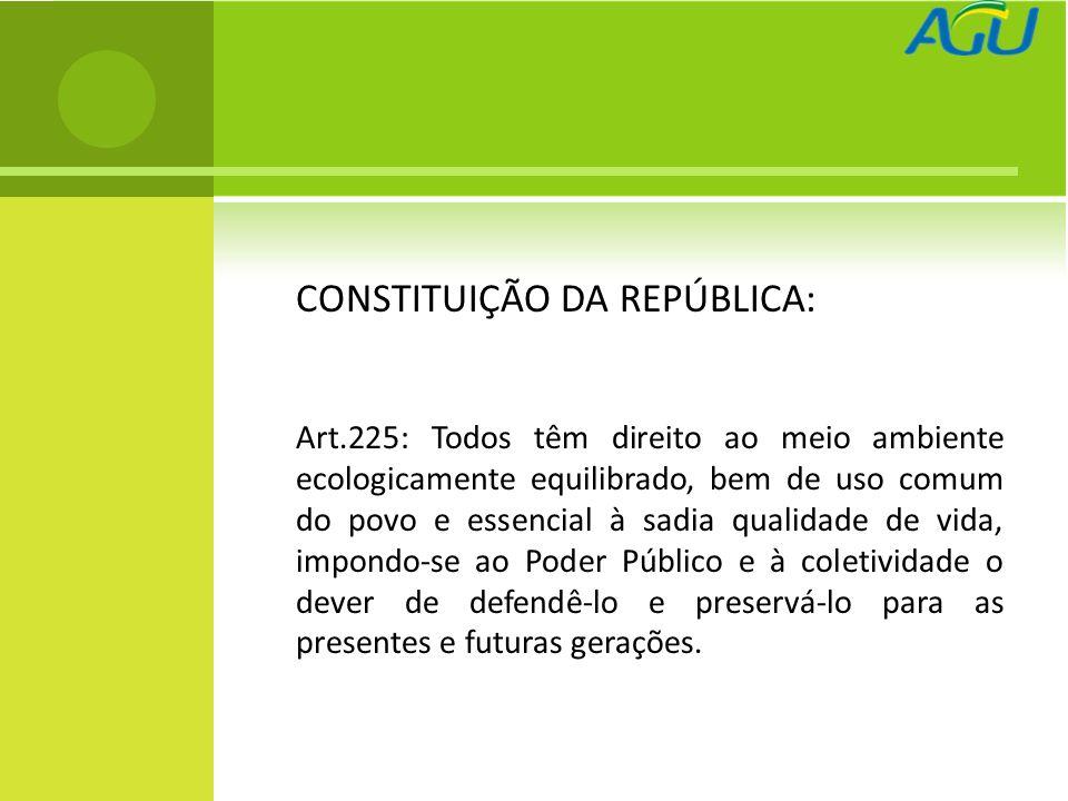 CONSTITUIÇÃO DA REPÚBLICA: Art.225: Todos têm direito ao meio ambiente ecologicamente equilibrado, bem de uso comum do povo e essencial à sadia qualid