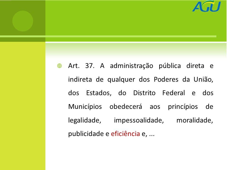 Art. 37. A administração pública direta e indireta de qualquer dos Poderes da União, dos Estados, do Distrito Federal e dos Municípios obedecerá aos p