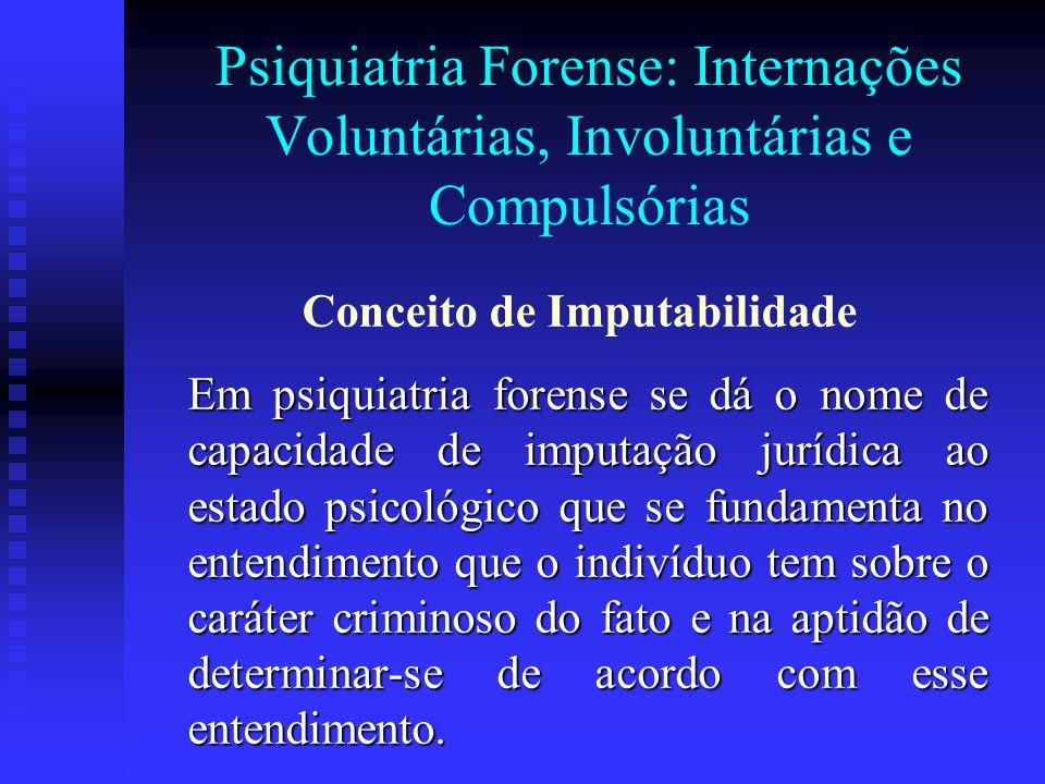 Psiquiatria Forense: Internações Voluntárias, Involuntárias e Compulsórias Em psiquiatria forense se dá o nome de capacidade de imputação jurídica ao