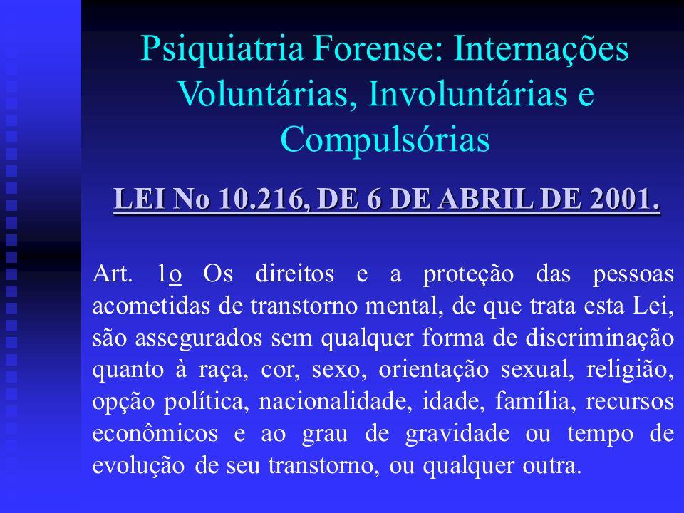 LEI No 10.216, DE 6 DE ABRIL DE 2001. LEI No 10.216, DE 6 DE ABRIL DE 2001. Art. 1o Os direitos e a proteção das pessoas acometidas de transtorno ment