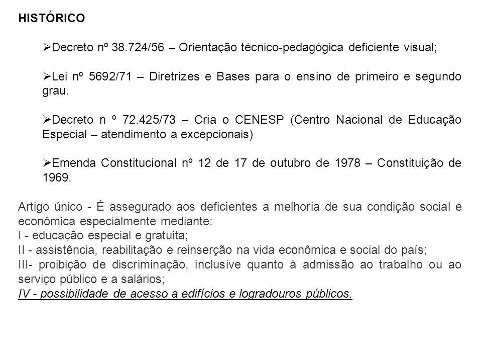 HISTÓRICO Decreto nº 38.724/56 – Orientação técnico-pedagógica deficiente visual; Lei nº 5692/71 – Diretrizes e Bases para o ensino de primeiro e segu