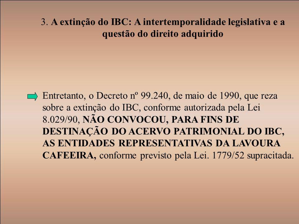 3. A extinção do IBC: A intertemporalidade legislativa e a questão do direito adquirido Entretanto, o Decreto nº 99.240, de maio de 1990, que reza sob