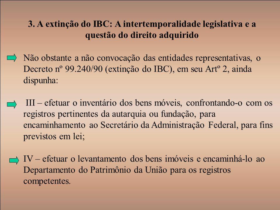 3. A extinção do IBC: A intertemporalidade legislativa e a questão do direito adquirido Não obstante a não convocação das entidades representativas, o
