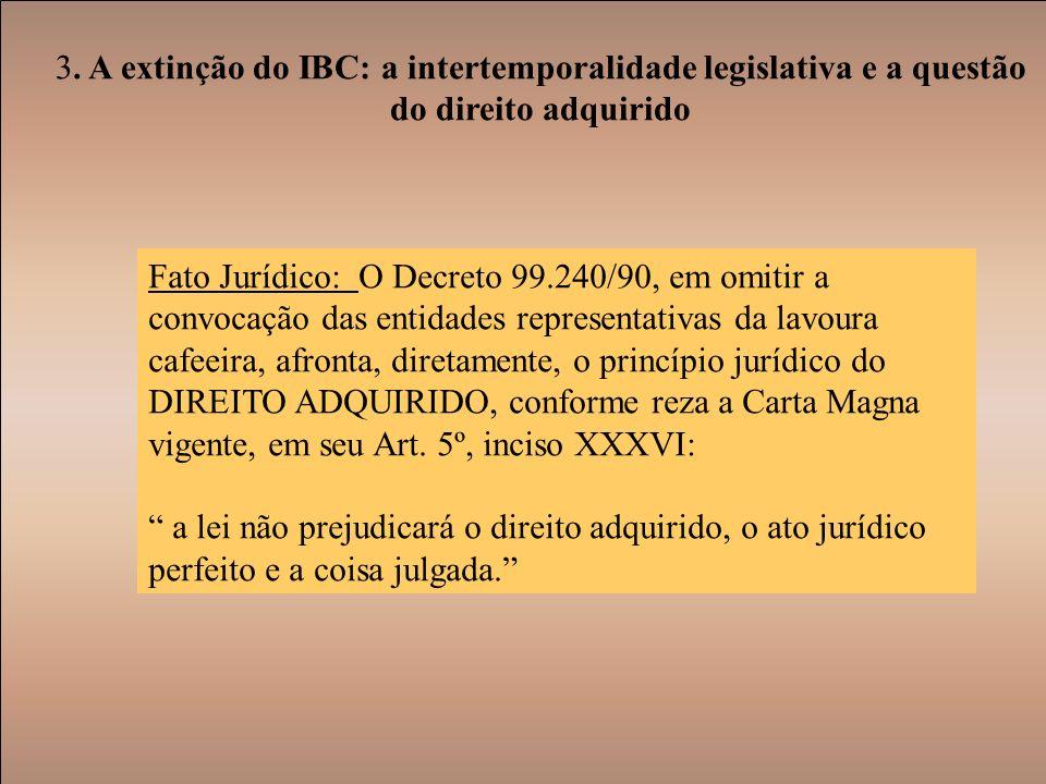 3. A extinção do IBC: a intertemporalidade legislativa e a questão do direito adquirido Fato Jurídico: O Decreto 99.240/90, em omitir a convocação das