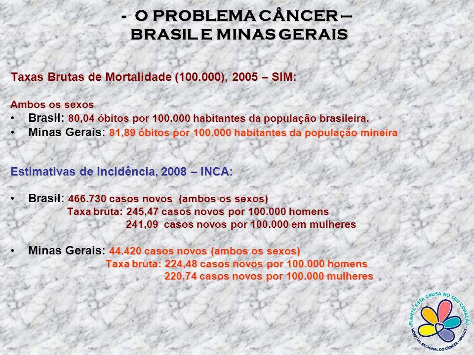 A MORTALIDADE POR CANCER - MINAS GERAIS A MORTALIDADE POR CANCER - MINAS GERAIS O CÂNCER É A 2ª.