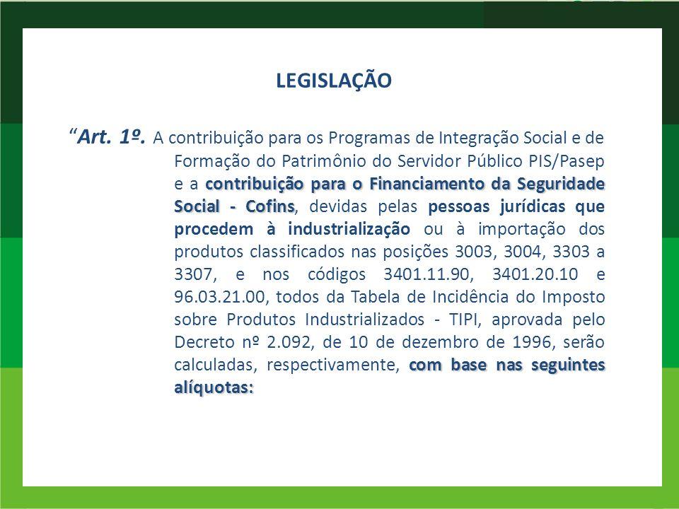 LEGISLAÇÃO contribuição para o Financiamento da Seguridade Social - Cofins com base nas seguintes alíquotas:Art. 1º. A contribuição para os Programas