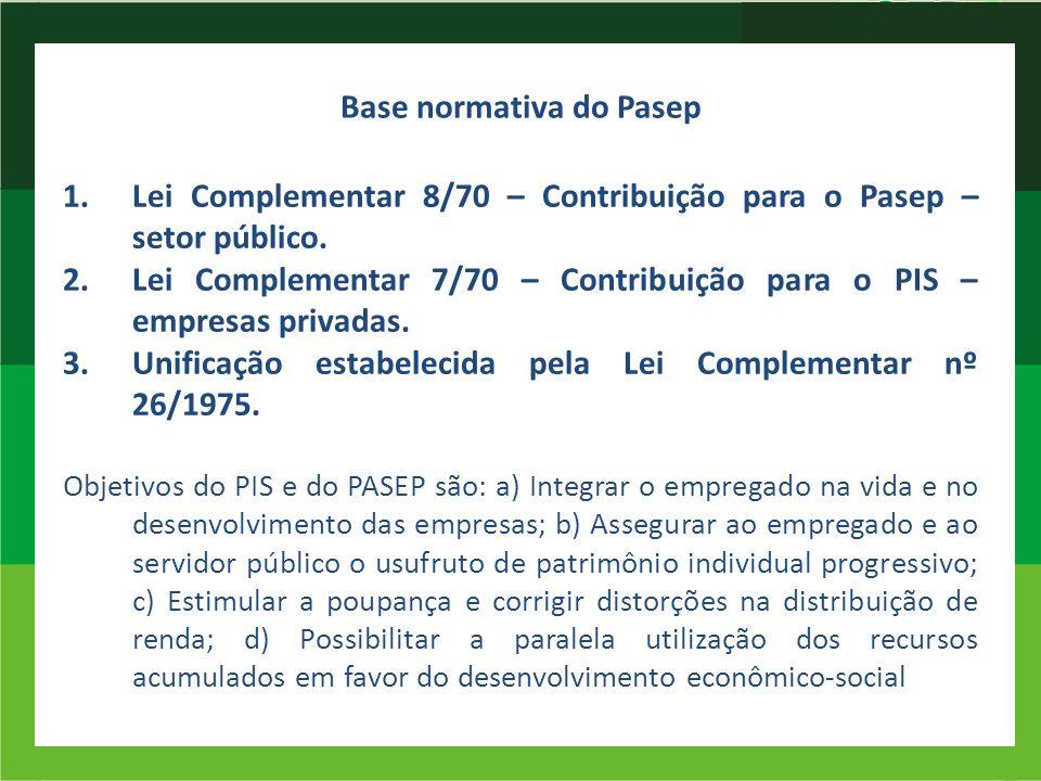 Base normativa do Pasep 1.Lei Complementar 8/70 – Contribuição para o Pasep – setor público. 2.Lei Complementar 7/70 – Contribuição para o PIS – empre