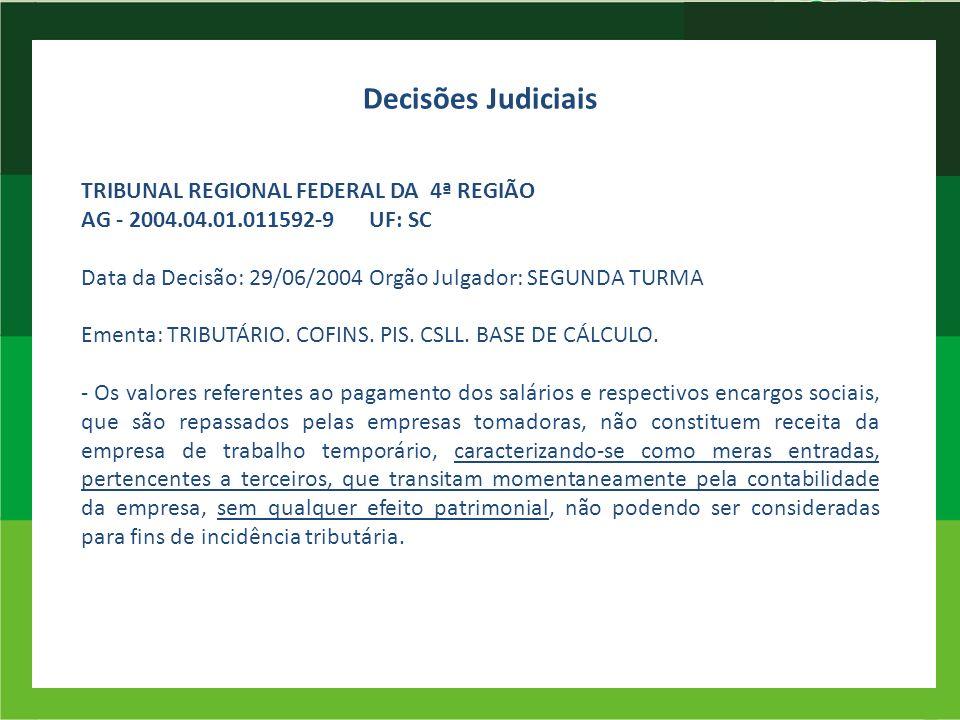 TRIBUNAL REGIONAL FEDERAL DA 4ª REGIÃO AG - 2004.04.01.011592-9UF: SC Data da Decisão: 29/06/2004Orgão Julgador: SEGUNDA TURMA Ementa: TRIBUTÁRIO. COF