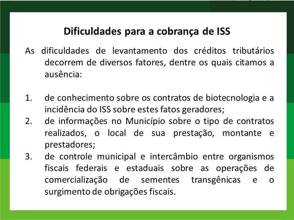 Dificuldades para a cobrança de ISS As dificuldades de levantamento dos créditos tributários decorrem de diversos fatores, dentre os quais citamos a a